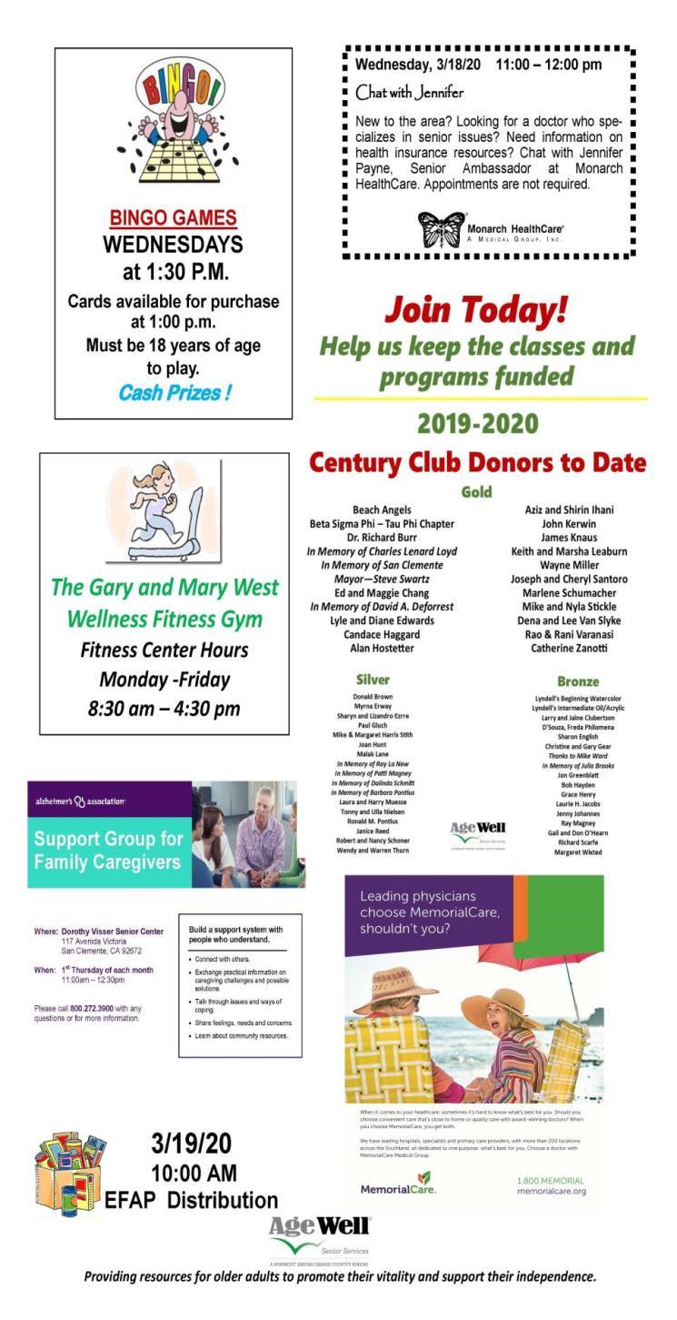 Senior Center Activities | City of San Clemente, CA