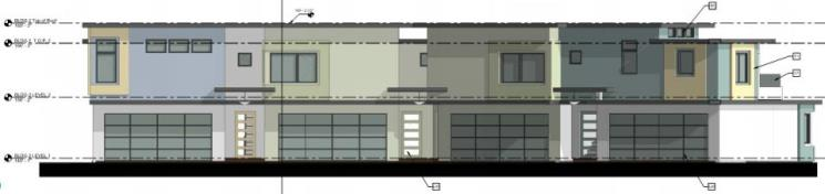 Front Elevation - Rear Units-La Ronda 6-plex