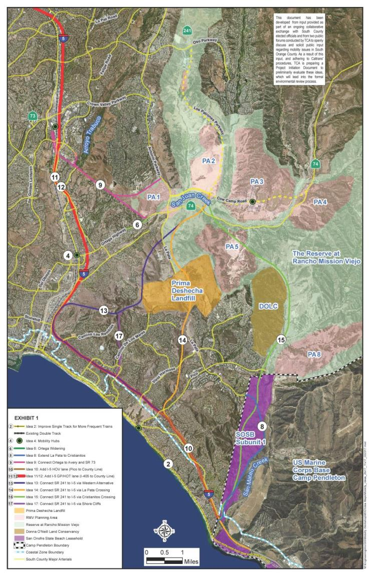 Potential Alternative Toll Road Extension Map 01 - Ideas 2 thru 17